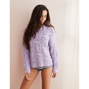 NEW Aerie Lavender Pointelle Open Stitch Sweater S